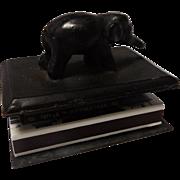 SALE 19th Century Bronze Elephant Match Box Holder
