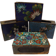 Vintage Chinese Cloisonne Match Box Holder Set
