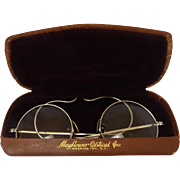 1920's Engraved Wire Rimmed Spectacles in Original Box