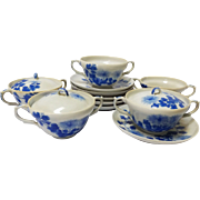 Meiji Period Japanese Porcelain Double Handled Teacup Set