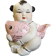SALE Vintage Bisque Chinese Child with Fish Statue