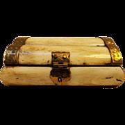 SALE Indian Bone and Hammered Brass Dresser Box
