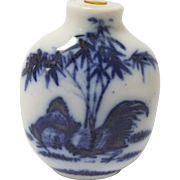 Chinese Porcelain Kangxi Revival Snuff Bottle with Artemisia Leaf Mark