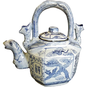 SALE Chinese Porcelain Blue and White Teapot