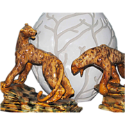 SALE 1946 Royal Hickman Leopard Statue Pair