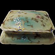 SALE Vintage Victorian Style Enameled Porcelain Trinket Box