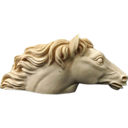SALE Vintage Pressed Alabaster Horse Head Pipe Holder