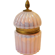 SALE Fluted Art Glass Translucent Pink Opaline Glass Inkwell