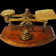 SALE 19th Century Brass and Mahogany British Postal Scale