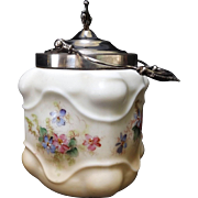 SALE 19th Century Wavecrest Style Biscuit Jar with Silver Plated Accents