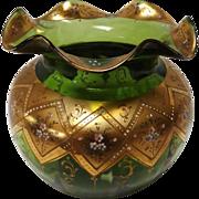 SALE Vintage Gilded Apple Green Lobed Bohemian Glass Vase