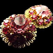 SALE Vintage Austrian Crystal Clip Earrings- Stunning!