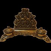 SALE Large Rococo Style Vintage Brass Desk Caddy
