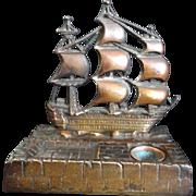 SALE 19th Century Brass Nautical Inkwell