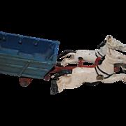 SALE Vintage Cast Iron Horses and Cart with Original Paint