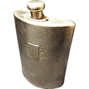 SALE Antique Silver Plated Hammered Brass German  Hip Flask