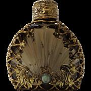 SALE Bronze Glass Brass Filigree Wrapped Perfume Bottle