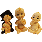 SALE Charming Trio of Bisque Baby Figurines
