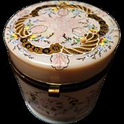 SALE Vintage Flashed and Enameled Opal Ware Hinged Dresser Jar