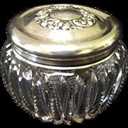 SALE American Brilliant Period Cut Crystal Dresser Jar with Sterling Lid