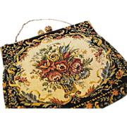 SALE Vintage Tapestry Purse with Peach Satin Lining