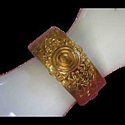 SALE Floral Motif Brass Clamping Bangle Bracelet