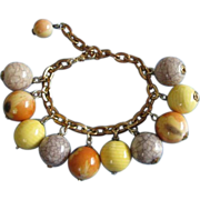 REDUCED Sunset Yellow, Orange and Crackle Bead Charm Bracelet ~ REDUCED!