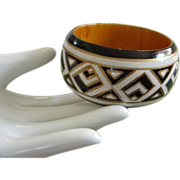 REDUCED Black, White and Gold Geometric Design Wooden Bangle Bracelet, India ~ REDUCED!