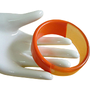 REDUCED Asymmetrical Two Tone Tangerine Orange Lucite Bangle Bracelet ~ REDUCED!