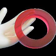 SALE Very Mod Translucent Fuchsia Lucite Bangle Bracelet