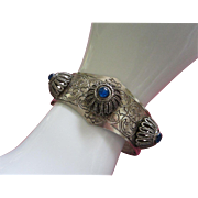 REDUCED Engraved Silver Tone, Raised Floral Accents, Peacock Blue Cabochon Bracelet ~ REDUCED!