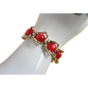REDUCED Vintage Coro Red Moonglow Lucite and Rhinestone Bracelet ~ REDUCED!