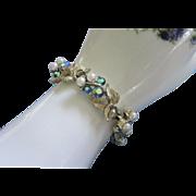 Vintage Lisner Blue-Green AB Rhinestone & Faux Pearl Bracelet