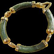 Vintage Oriental, Marbled Jade Green Glass Bracelet