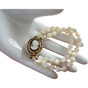 REDUCED Vintage Mother of Pearl, Abalone Cameo Bracelet ~ REDUCED!