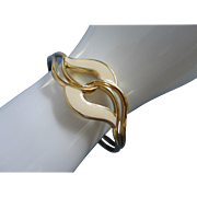 REDUCED Vintage Creamy Enamel and Gold Tone Cuff Bracelet ~ REDUCED!