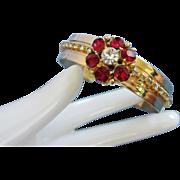 SALE Sparkling Ruby Red and Clear Flower Rhinestone Cuff Bracelet