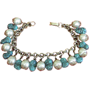 REDUCED Vintage Faux Turquoise and Pearl Charm Bracelet ~ REDUCED!