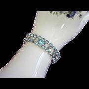 SALE Radiant Vintage Aquamarine Rhinestone Bracelet