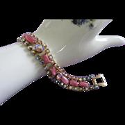 REDUCED Radiant Vintage Pink Glass, AB Rhinestone Bracelet