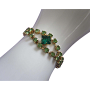 SALE Vintage Peridot and Emerald Green Rhinestone Bracelet