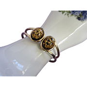SALE Vintage Black Gold Confetti Lucite Clamper Bracelet