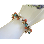 REDUCED Vintage Bracelet with White, Turquoise and Coral Colored Beads ~ REDUCED!!!