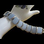 Lisner Sky Blue Moonglow Lucite, Silver Tone Bracelet