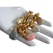 SALE Vintage Genuine Stone, Gold Tone Charm Bracelet