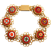SALE Perky Millefiore and Micro Mosaic Bracelet