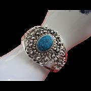 SALE Wide Faux Turquoise, Silver Tone Clamper Bracelet