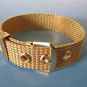 SALE Vintage Avon Mesh Buckle Bracelet in Gold Tone