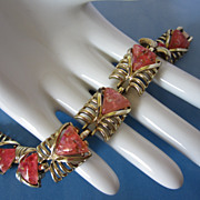 REDUCED Vintage Coral Pink Confetti Lucite Bracelet ~ REDUCED!!