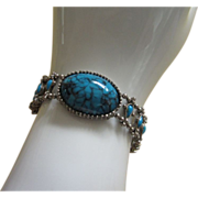 REDUCED Vintage Faux Turquoise and Silver Tone Bracelet ~ REDUCED!